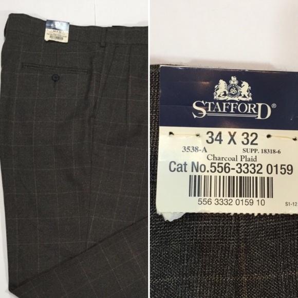 Men/'s Stafford Big Tall Black Pin Stripe 100/% Wool Flat Dress Suit Pants 48 X 32
